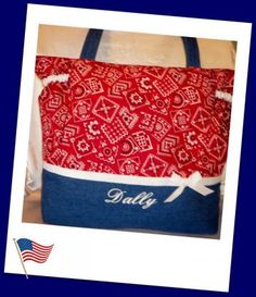 Designs by Keri  Western Red or Maroon or blue Bandana Duffle Diaper bag by DesignsbyKeri for $75.99