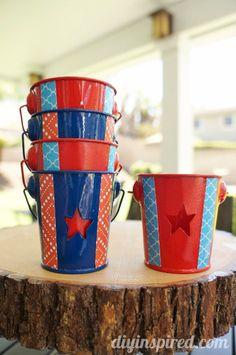 Easy DIY Mod Podge Mini Bucket Tea Lights #fourthofjuly #decorations #hostessgift