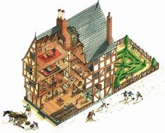 A cutaway of a Tudor House for BBC Books, by Katherine Baxter