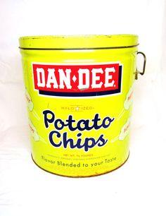 Vintage Dan Dee Potato Chip Tin Yellow #Chips #Dips #Salsa #Potato #Kettle #Corn #Rice