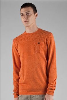 Fly53 Barley orange thin kintted patch pocket jumper