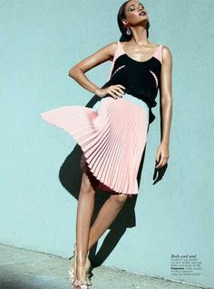 Vogue Australia May 2012 | Joan Smalls // pastel pleats