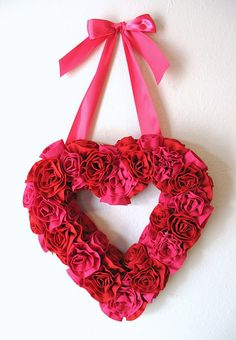 fabric roses, valentine day crafts, fabric flowers, diy valentine's day, front doors, fabric hearts, sewing tutorials, valentine wreath, heart wreath