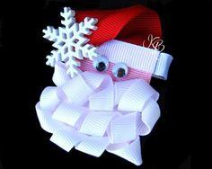 craft, bow inspir, hairbow idea, santa hair, ribbon, santa bow, beard, hair bows, christma