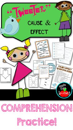 Cause  effect comprehension practice inspired by TWITTER!  Your kids will LOVE this reading game.   #comprehension #game