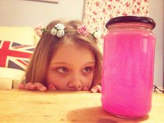 Calm Down Jar for children, pink and glittery