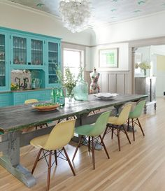 cabinets, kitchens, dining rooms, dine room, turquoise, chairs, colors, ceilings, hous