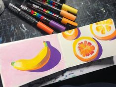 "Kendra Vertz on Instagram: ""It's been a long day. I'm tired. I dried something a lil different with my posca pens and I like the banana and hate the oranges Day 544…"" - #banana #Day #Dried #dry #hate #im #Instagram #Kendra #lil #Long #oranges #pens #posca #tired #Vertz"