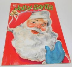 Vintage Whitman Jumbo Jolly Santa Coloring Book Florence Sarah Winship 1965