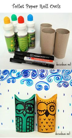 Toilet Paper Roll Owls | Crafts and DIY Community - Seems like we could fill these with treats if we seal off the bottom.