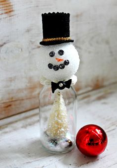 Bottle Snowmen - get