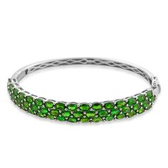 Liquidation Channel:  Russian Diopside Bangle in Sterling Silver (Nickel Free)