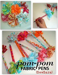 Cute pom-pom pens by Sew Sara.