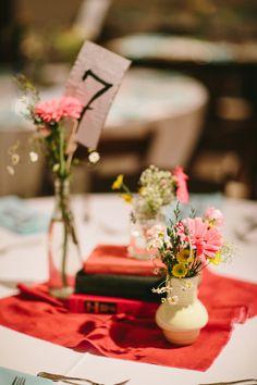 vintage-inspired centerpiece arrangement, photo by Q Avenue Photo http://ruffledblog.com/travellers-rest-nashville-wedding #weddingideas #reception #centerpieces