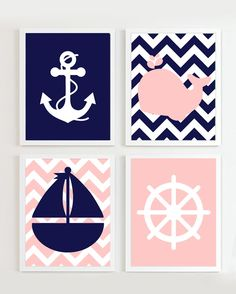 INSTANT DOWNLOAD - Chevron Nautical Nursery Navy and Baby Pink set of 4 each Girl Beach Ocean Sea more colors available