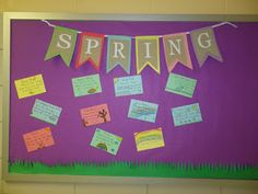Spring banner & haikus on colored index cards