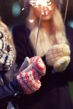 Pretty mittens and sparklers