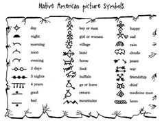 Native American picture symbols - would make a cute writing activity - FREE Printable