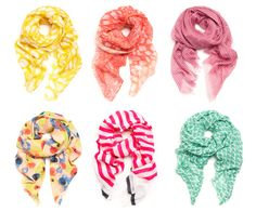 candy colored scarves