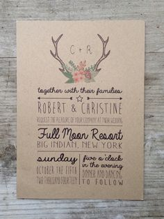 Floral Antlers Wedding Invitation by housemanstationery on Etsy, $50.00
