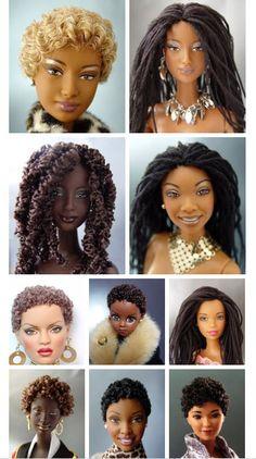 Natural hair dolls.