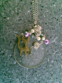pink purple Optical lens necklace siamese by KikisCollections, $30.00