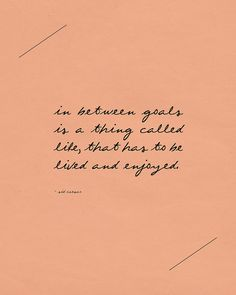 in between goals is a thing called life, that has to be lived and enjoyed