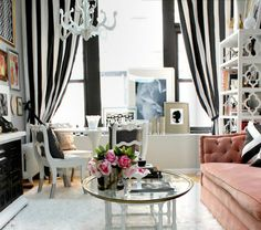 loving pink with black and white stripes and mixes of gold.