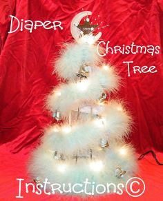 Learn to make Baby's 1st Christmas Tree diaper cake by babyboo0722