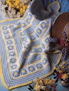 crochet afghan, garden afghan, afghan patterns, color, crocheted flowers, baby blankets, blanket patterns, granny squares, crochet patterns