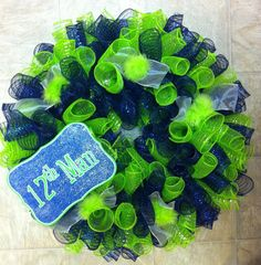 Seattle Seahawks 12th Man Wreath by sugarmamasdoordecor on Etsy, $50.00 I can make one for Sounders and Seahawks.