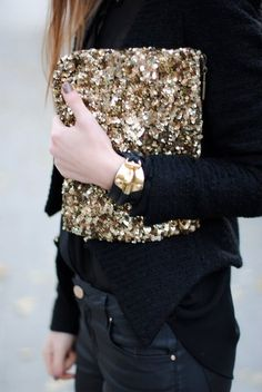 go for the gold! #sequin #clutch #bag #inspiration