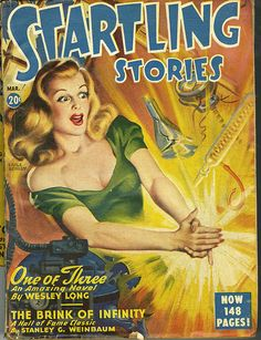 Startling Stories, Mar 19??    The flowing hair, the perfect makeup. Earle Bergey sure knew out to render glamorous pulp action. But, for a pulp cover, she's quite the liberated woman: She's not in bondage nor a damsel in distress.