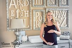 Love the alphabet for baby room. I especially like the frames and how simply elegant it is.