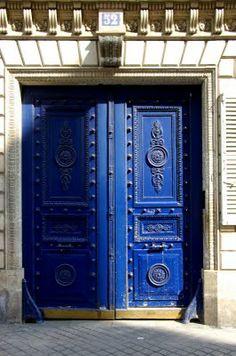 ornate blue door in Paris