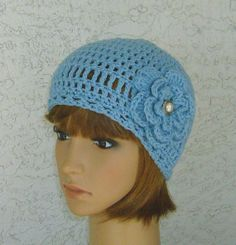 Sky Blue All Cotton Floral Cloche Crochet by CrochetHatsForYou,