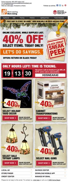 "Home Depot used an animated countdown timer to show how much time remained for shoppers to take advantage of exclusive ""Black Friday Sneak Peek"" deals. #emailmarketing #holidayemail #blackfriday #countdowntimer"