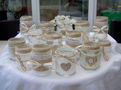 SHABBY CHIC/VINTAGE WEDDING DECORATED GLASS JAR TEA LIGHT HOLDERS/FAVOURS x 15