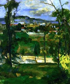 Village behind Trees, Ile de France Paul Cezanne - circa 1879 tree, paul cezanne, paul cézann, paint, lart dan, france, ile de, artist, de franc