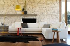 couch, jardan, design interiors, beach houses, stone walls, sitting rooms, wall cladding, stones, furnitur
