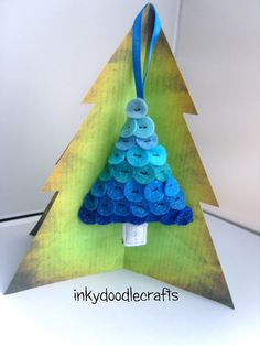 Felt button Christmas tree ornament - love the shades of blue