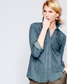 Denim is actually the ultimate transitional fabric because it's season-less. You can dress up this denim shirt with a bright mini, or wear it to the office with a pleated skirt and modern shoe. And when the weather gets colder, you can layer it over a patterned t-shirt or under your favorite fall sweater. - Anne Keane, Lucky Magazine