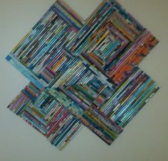 Rolled magazine wall hanging