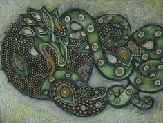 Celtic Ethnic Sea Dragon Leviathon Fantasy Art by LynnetteShelley, $30.00