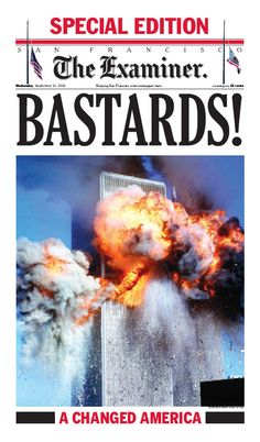 """Bastards"" - San Francisco Examiner 9/11 front page  (Sept 12, 2001)"