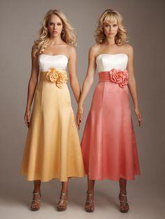 Fancy A-line empire waist satin dress for bridesmaid- very cute