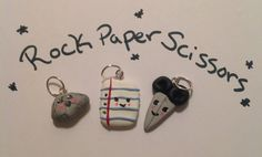 Kawaii! Perfect for back to school! Best Friends Charms Rock Paper Scissors by BlueBumbershoot on Etsy, $12.00