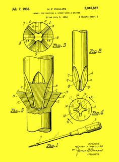 1936: Henry F. Phillips receives patents for a new kind of screw and the new screwdriver needed to make it work. It changes the worlds of mass production and machine repair, not to mention your home toolbox.