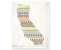 California Sunrise, 8x10 print, Aztec Tribal Geometric Pattern, Autumn Colorful Bold - Dorm Decor - Fresh Modern Wall Art, Housewarming Gift. $20.00, via Etsy.