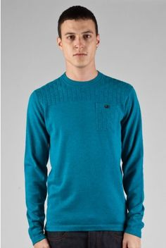 Fly53 Barley blue thin kintted patch pocket jumper